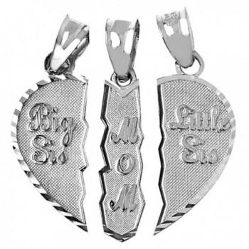 Textured Sterling Silver 3-Piece Mom and Daughters Breakable Heart Necklace Pendant - CQ11N9HH6EV