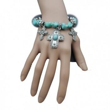 TFJ Women Elastic Bangle Bracelet Fashion Jewelry Western Cross Turquoise Blue Beads - C912CQVNEOL