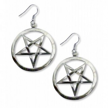 Gothic Inverted Pentacle Pewter Medieval Renaissance Dangle Earrings - CN11C5GKB3Z