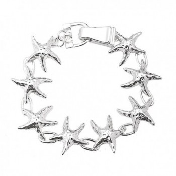 Silver Plated Nautical Starfish or Anchor Bracelet with Magnetic Closure - C311LVYI45T