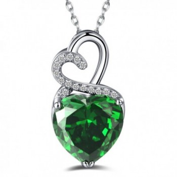 Caperci Sterling Silver Created Gemstone Double Heart Pendant Necklace for Women- 18'' - Emerald - C112N184MTD