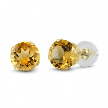 0.52 Ct Round 4mm Yellow Citrine 14K Yellow Gold Stud Earrings - C311H7OCN7H