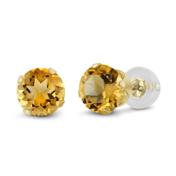 0.52 Ct Round 4mm Yellow Citrine 14K Yellow Gold Stud Earrings - C311H7OCN7H