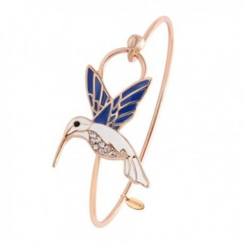 SENFAI Tiny Enamel Trochilus Crystal Easy Openning Charm Bracelet and Hummingbird Bangle Female - C912J5Y3W99