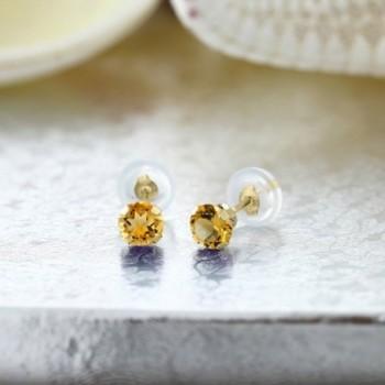 0 52 Round Yellow Citrine Earrings in Women's Stud Earrings