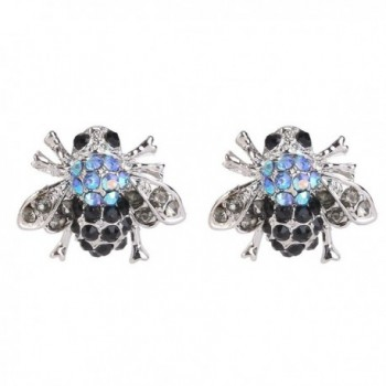 EVER FAITH Austrian Crystal Lovely Little Honeybee Insect Animal Stud Earrings Blue Silver-Tone - CG11LXSC8W3
