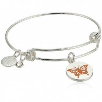 "Halos & Glories- ""Butterfly"" Charm Bangle Bracelet - Shiny Silver - CN185OCTXHN"