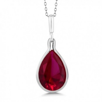 9.10 Ct Pear Shape Red Created Ruby 925 Sterling Silver Pendant With Chain - CF11OWSNOFL