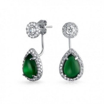Bling Jewelry Synthetic Green Onyx Teardrop Back and Front Earrings Rhodium Plated Brass - CZ11TL7YM4P