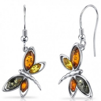 Baltic Amber Butterfly Dangle Earrings Sterling Silver Multiple Colors - CK11Y5MATKV