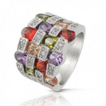 JanKuo Jewelry Rhodium Plated Multi Color Cubic Zirconia Cocktail Band Ring - CW121F7FV75