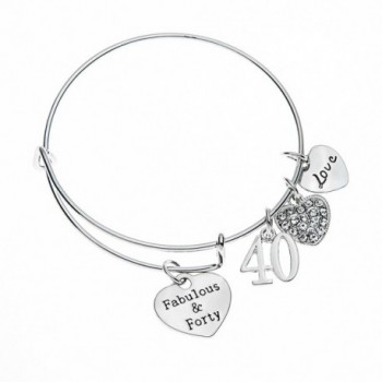 40th Birthday Gifts for Women- 40th Birthday Expandable Charm Bracelet- 40th Birthday Ideas- Gift for Her - CO12IEQA633