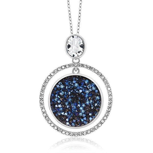 """2"""" Moonlight Crystal Dust Double Circle Pendant Made With Swarovski Crystal - CZ187DQD53K"""