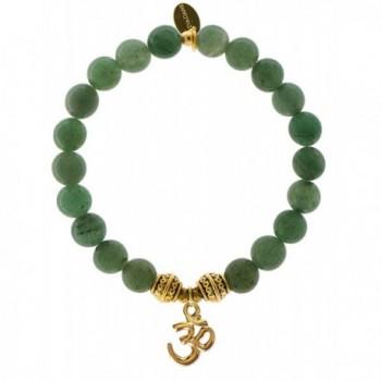EvaDane Natural Green Aventurine Gemstone Tibetan Bead Om Charm Stretch Bracelet - CZ12DR1AVGR