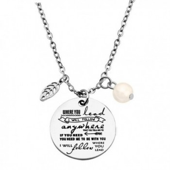 Zuo bao Mother and Daughter Necklace Where You Lead I Will Follow Pendant Necklace and Keyring - Pandent Necklace - CB187IQMQ0S