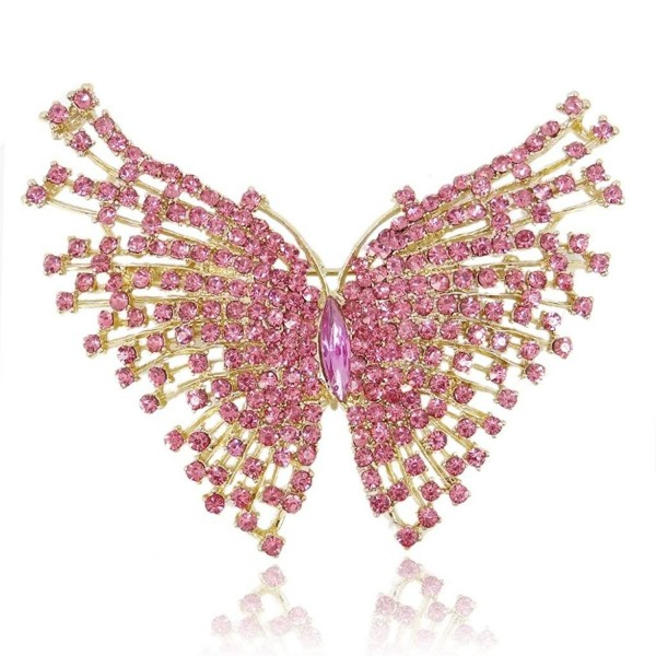 EVER FAITH Gold-Tone Butterfly Brooch Pink Austrian Crystal - C911BGDLGTV