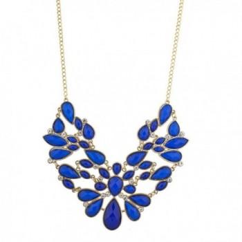 Lux Accessories Blue Floral Piece Statement Necklace - CG12HJJ02MH