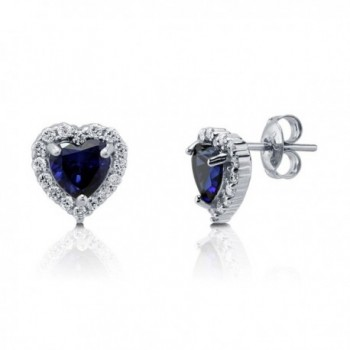 BERRICLE Rhodium Plated Sterling Silver Heart Shaped Cubic Zirconia CZ Halo Heart Stud Earrings - CV129C9AMHB