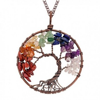Tree of Life Necklace Agate Necklace Handmade Gemstone Chakra Necklace Gift for Her - multicolour - CG188YEOD99
