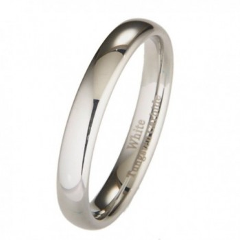 MJ 4mm White Tungsten Carbide Polished Classic Wedding Ring - CA11H9REPQT