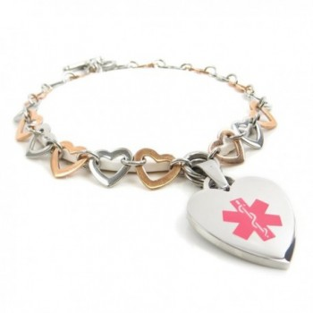 MyIDDr - Pre-Engraved & Customized Women's Breast Cancer Toggle Medical Charm Bracelet- Rose Steel Heart - CD11HUY5MC7