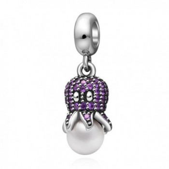 Octopus Pendant Charm 925 Sterling Silver for Charms Bracelet- Valentine's Day Gifts - purple - CU183RS3XR4