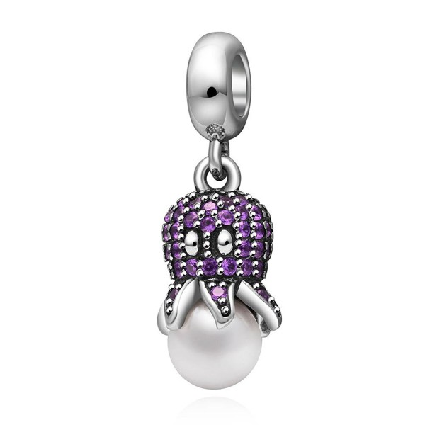 07ab802bd Octopus Pendant Charm 925 Sterling Silver for Charms Bracelet- Valentine's  Day Gifts - purple - CU183RS3XR4