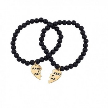Lux Accessories Black Beaded Partners In Crime BFF Best Friends Matching Bracelet Set - CO120RWU9R1