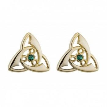 Trinity Knot Earrings Gold Plated & Crystal Irish Made - CO184AML4I9