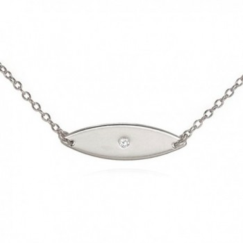Evil Eye Pendant Necklace Luminous CZ and Solid .925 Sterling Silver 16 - 17 inches - CE11Q6FKW2V