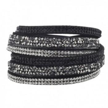 Lux Accessories Women's Studded Fashion Wrap Bracelet - Silver - CG12LO55KUV