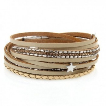 Jenia Multi layer Leather Bracelet Magnetic - steel bangle-Khaki - CC18462YEKO