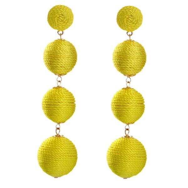 Bohemian Yellow silk POM Ball Earrings Hanging Long Drop Earrings for Women - CY184YIAHM9