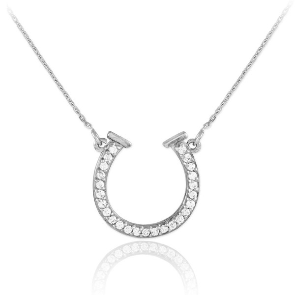 Sterling Silver CZ Good Luck Horseshoe Necklace - CZ11F5W30MZ