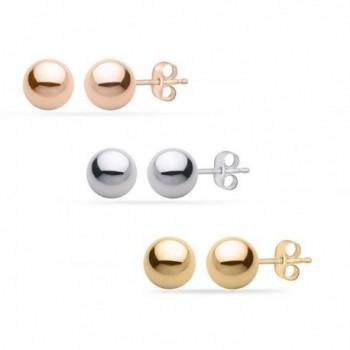 PARIKHS White / Yellow / Rose Gold Ball Earrings High Polished 3MM - 8MM with 14k Gold Pushbacks - CJ12CZQB2UZ