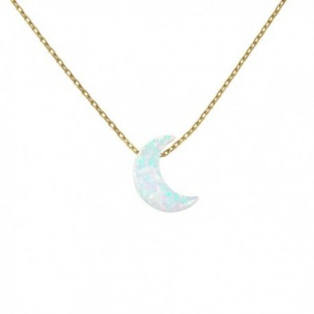 White Moon Opal Gold Plated 925 Sterling Silver Necklace - Crescent Moon Pendant Necklace - CJ183L42XWI