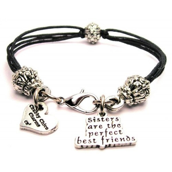"ChubbyChicoCharms Sisters Are the Perfect Best Friends- Pewter Beaded Black Waxed Cotton Cord Bracelet- 2.5"" - C511GSN3EPX"