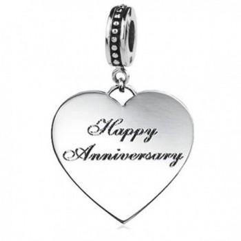 "Jovana Sterling Silver ""Happy Anniversary"" Dangle Bead Charm - Fits Pandora Bracelets & Necklace. - C211M5JV4RT"