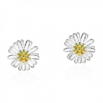 Mini Daisy Two-Tone Gold Plated Over .925 Sterling Silver Post Earrings - CB12HGFXI9N