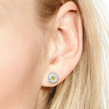 Two Tone Plated Sterling Silver Earrings in Women's Stud Earrings