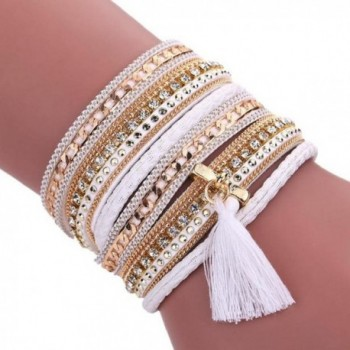 Kingfansion Women Bohemian Bracelet Woven Braided Handmade Wrap Cuff Magnetic Clasp - White - CH12G7QAZE7