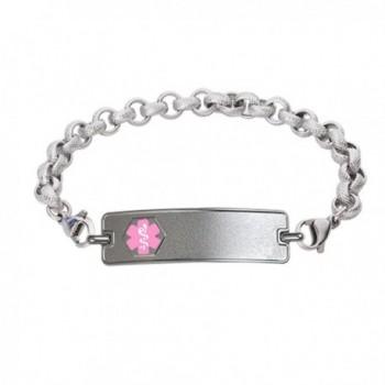 Divoti Custom Engraved Classic Medical Alert Bracelet -Textured Rolo Stainless -Pink - C5183GX68H6