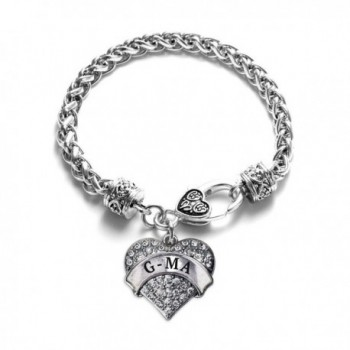 G-ma 1 Carat Classic Silver Plated Heart Clear Crystal Charm Bracelet Jewelry - CE11VDKWQQ9