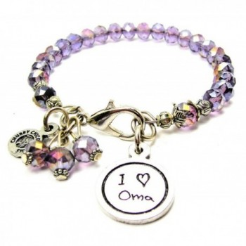 I Love Oma Child Handwriting Splash of Color Bracelet in Lavender Purple - C312J6CUV9T