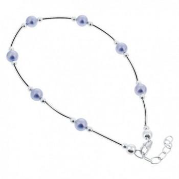 Gem Avenue Sterling Silver Swarovski Elements Round Blue Faux Pearl Ankle Bracelet 9 to 10 inch Adjustable - CW111CR80RH