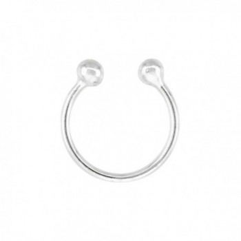 Sterling Silver Nose Ring Septum Piercing Horseshoe Cartilage Earring Non-Pierced 10 mm (one piece) - C5111B26Y7V