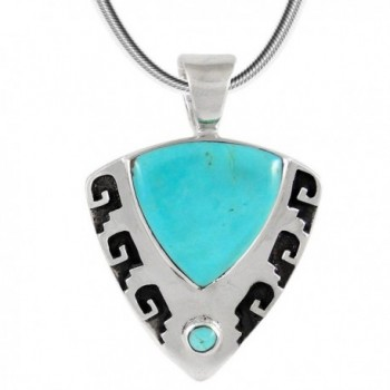 Turquoise Pendant Necklace in Sterling Silver (SELECT from different styles) - Great Shield - CT180N39TSN