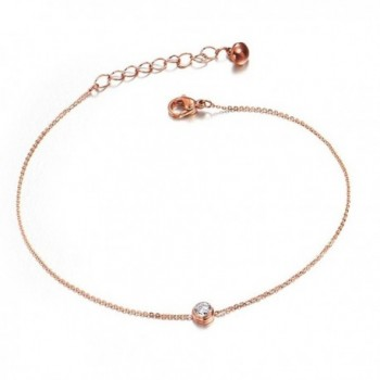 Women Simple Alloy Zircon Solitaire Anklet Rose Gold Plated - CA12K0WMXYF