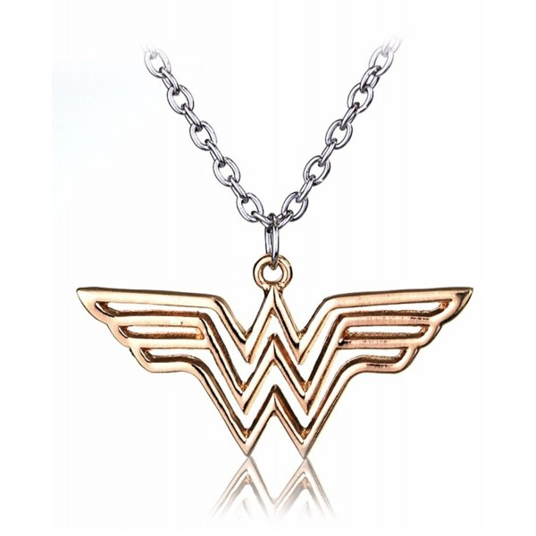 Superhero Justice League Wonder Woman Necklace Gold Pendant Necklace - Rose Gold - C5188IXTWMG