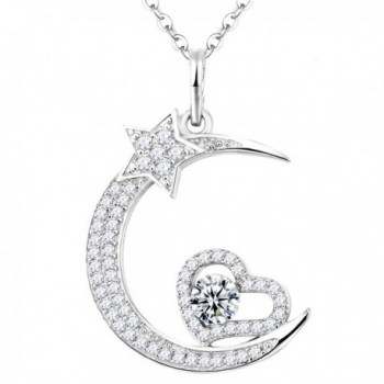 Birthstone shooting Swarovski Necklace Anniversary - Star and Moon Love Heart Necklace - C712O2YTJH3